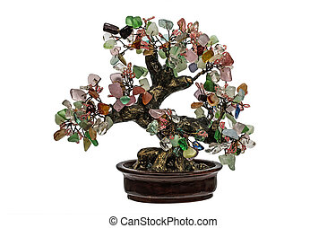 Decorative tree from natural semiprecious stones isolated on...