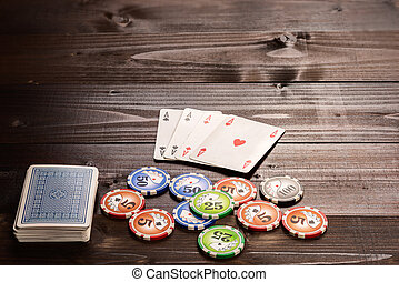 Poker ace - Four aces and chips, vintage poker game playing...