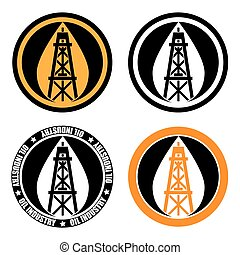 oil derrick logo - Symbol or logo of an oil company. Oil rig...
