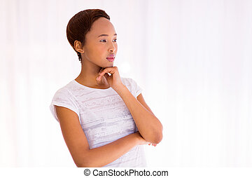 thoughtful african american girl - portrait of thoughtful...