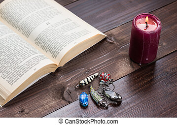 Divination - Composition of esoteric objects,candle and book...