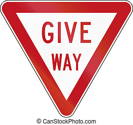 New Zealand road sign R2-2 - Give Way