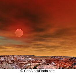 Sunrise Petrified Forest Arizona - Sunrise scenic landscape...