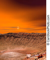 Sunrise Meteor Crater - Meteor crater in Arizona with...