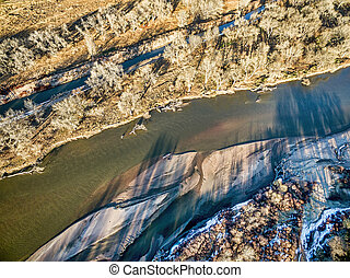 aerial view of South Platte River in eastern Colorado with a...
