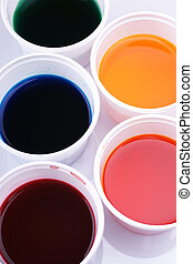 Pots with water colour - Pots of water-colour for colouring...