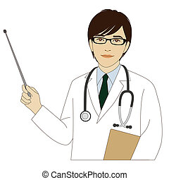 Smiling doctor holding a pointer stick - A smiling doctor...