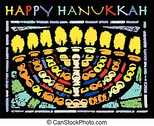 Happy Hanukkah Card - Card with a traditional hanukkiya for...