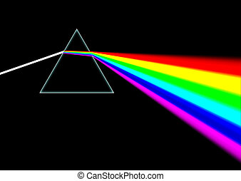 Dispersive Prism - White light beam shines through a prism...