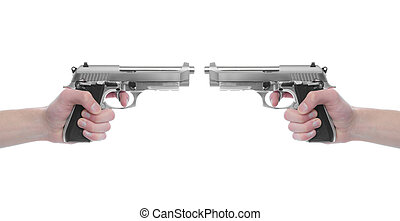 War - Hand holding a handgun pistol 357 Magnum isolated on...