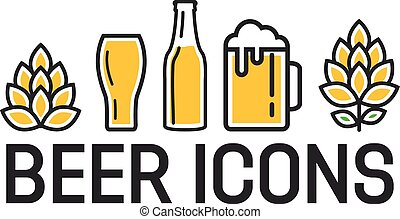 Set of colorful beer icons - Vector logo or icon design...