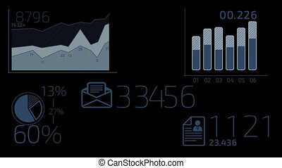 Business Infographics Elements - - Dark Blue elements with...