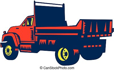 Flatbed Truck Woodcut - Illustration of a flatbed truck...