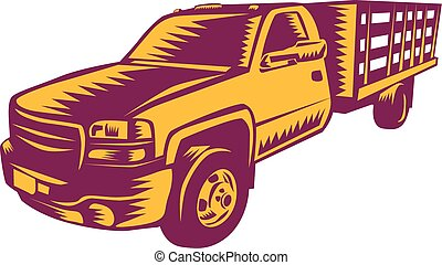 Pick-up Truck Woodcut - Illustration of a pick-up truck...