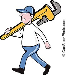 Plumber Holding Monkey Wrench Isolated Cartoon -...