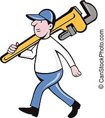 Plumber Holding Monkey Wrench Isolated Cartoon -...