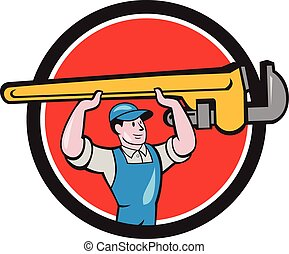 Plumber Lifting Monkey Wrench Circle Cartoon - Illustration...
