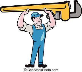 Plumber Lifting Monkey Wrench Isolated Cartoon -...
