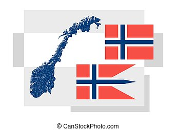 Map of Norway with lakes and rivers and two Norwegian flags...