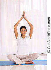 indian woman yoga meditating