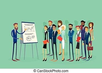 Business People Group Presentation Flip Chart Finance,...