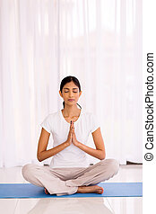 indian woman meditating