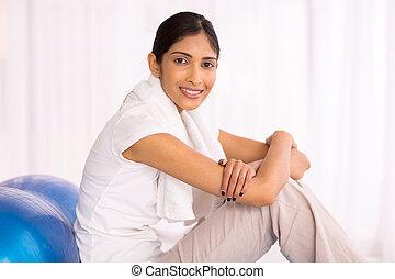 mujer, Pelota, indio, ejercicio