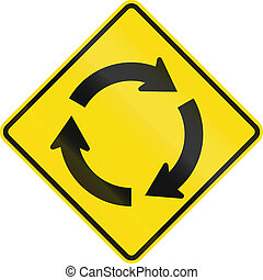 New Zealand road sign PW-8 - Roundabout ahead