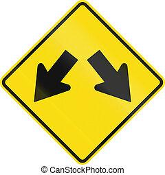 New Zealand road sign - Lane diverges
