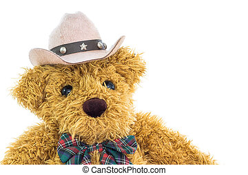 Close up cowboy teddy bear on white background