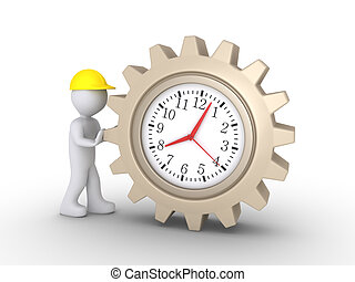 Worker pushing clock cogwheel - Person as worker is pushing...