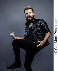 young attractive bearded hipster man gesturing emotional...
