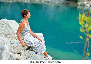 woman at the river - on the shores of the azure river...