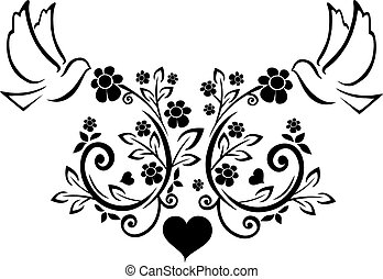 flourishes with doves - It is a vector illustration of a...