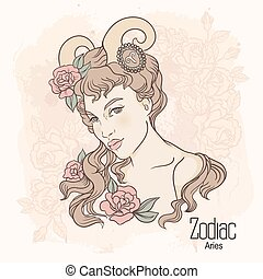 zodiac. Vector Aries - Zodiac. Vector illustration of Aries...