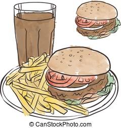 Hamburger, fries, coke, & bun - Hamburger Fries and Cola...