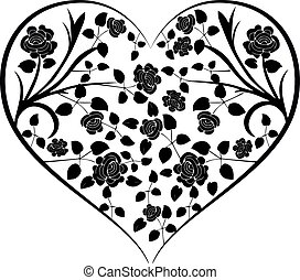 heart with vintage flowers