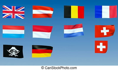 Western Europe Flags. Alpha channel is included
