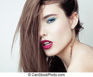 kobieta, młody, Uwodzenie, Do góry, twarz, włosy, brunetka,...