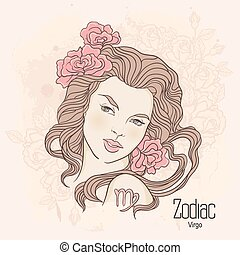 Zodiac. Vector illustration of Virgo as girl with flowers. Design for coloring book page.