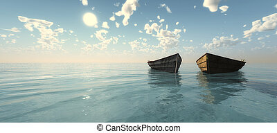 fishing boat floating in the sea