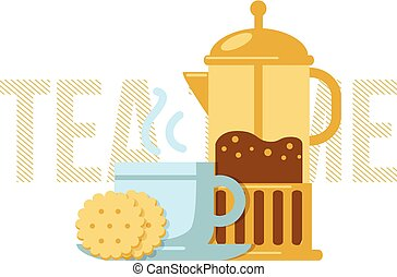 Tea cup and french press - Simple illustration of drink and...