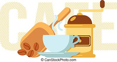 Coffee cup and mill - Simple illustration of drink and...