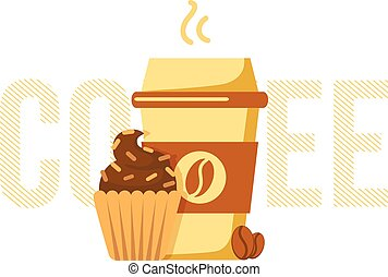 Coffee cup and muffin. - Simple illustration of drink and...