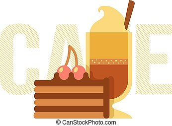 Coffee cup and cake. - Simple illustration of drink and...