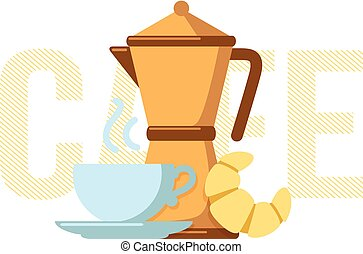 Coffee maker, coffee cup and croissant - Simple illustration...