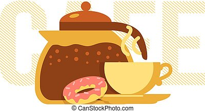 Coffee pot, cup and donut. - Simple illustration of drink...