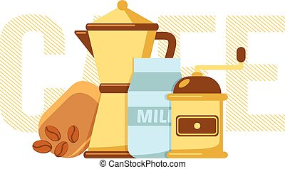 Coffee maker, coffee mill and milk. - Simple illustration of...