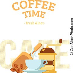 Coffee cup and mill. - Simple background with drink and...