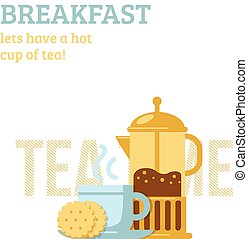 Tea cup and french press - Simple background with drink and...
